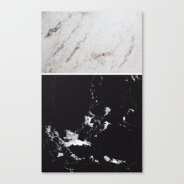 White Glitter Marble & Black Marble #1 #decor #art #society6 Canvas Print