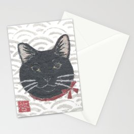 Cat, Black Cat, Modern Japanese, Asian Stationery Cards