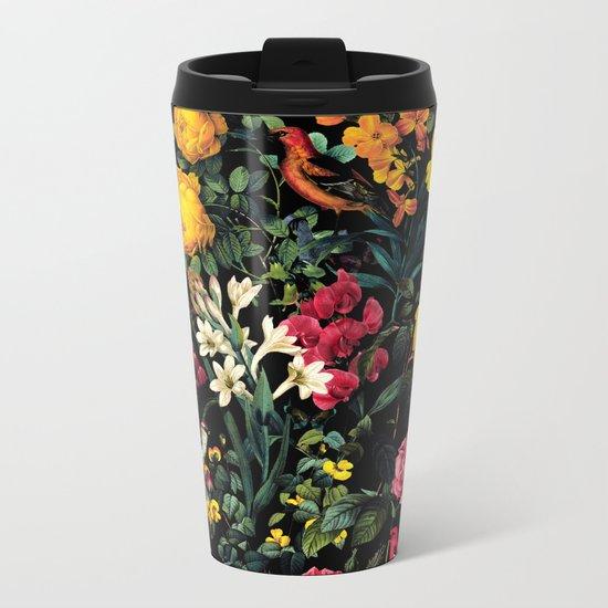 Floral and Birds Pattern Metal Travel Mug