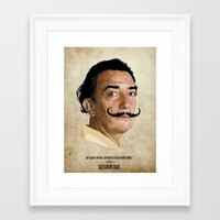 salvador dali Framed Art Prints featuring Salvador Dali by Self Toon
