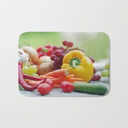 Fruits and Vegetables Variety in the kitchen Bath Mat