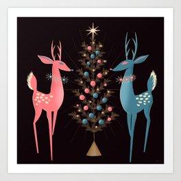 Midcentury Pink And Aqua Holiday At The North Pole Art Print