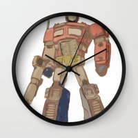 optimus prime Wall Clocks featuring Optimus Prime by colleencunha