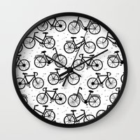 bikes Wall Clocks featuring Bikes by sarknoem