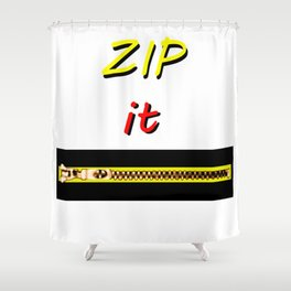 Zip it Black Yellow Red jGibney The MUSEUM Gifts Shower Curtain