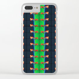 number 244 lime green yellow navy blue black pattern Clear iPhone Case