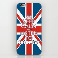 """coldplay iPhone & iPod Skins featuring """"Keep Calm and Listen to Coldplay""""-Union Jack by Fabfari"""