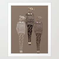 daisy Art Prints featuring Daisy by Bouffants and Broken Hearts