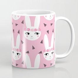 Bunny baby girl rabbit illustration cute decor for girls room pink pattern by charlotte winter Coffee Mug
