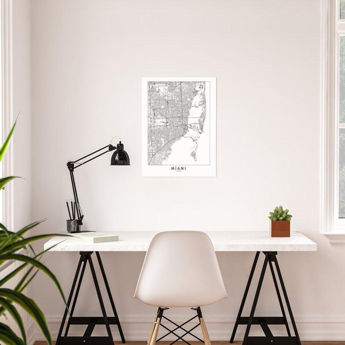 Miami White Map Poster