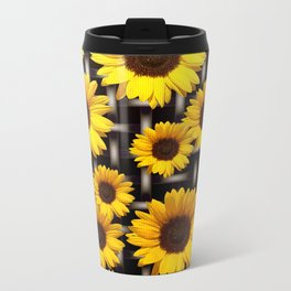 Bright Yellow Sunflower and Industrial Grid Pattern Metal Travel Mug