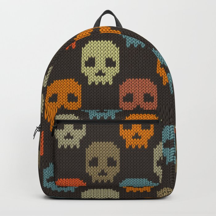 Knitted skull pattern - colorful Backpack