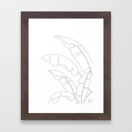 Minimal Line Art Banana Leaves Framed Art Print