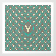 Oh Deer (white) Art Print