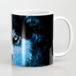 husky dog face splatter watercolor blue Coffee Mug