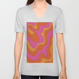 Groovy 60's and 70's Retro Pattern Unisex V-Neck