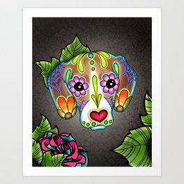 Beagle - Day of the Dead Sugar Skull Dog Art Print