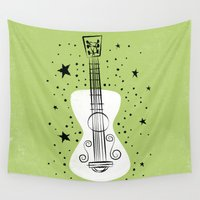 guitar Wall Tapestries featuring POP GUITAR by Matthew Taylor Wilson