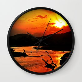 African River Sunset Wall Clock