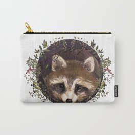Raccoon in Forest Wreath Carry-All Pouch