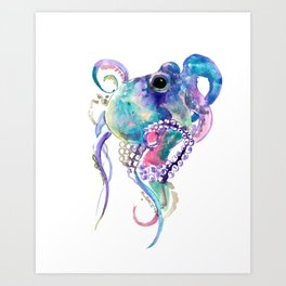 Tuquoise BLue Pink Purple Octopus Art Print