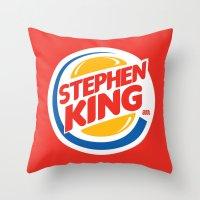 stephen king Throw Pillows featuring Stephen King by Alejo Malia