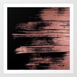 Modern black brushstrokes elegant faux rose gold Art Print