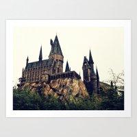 hogwarts Art Prints featuring Hogwarts by Thomas Wright Illustration