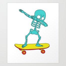 Funny & Cool Tshirt Design Skeleton Skater Dab Art Print