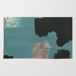 Wander: an abstract mixed media piece in pink teal green and white Rug