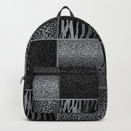 Light Gray and Black Exotic Animal Patterns Backpack