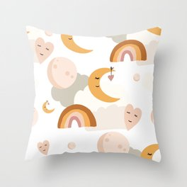 boho retro moon rainbow kids pattern illustration Throw Pillow