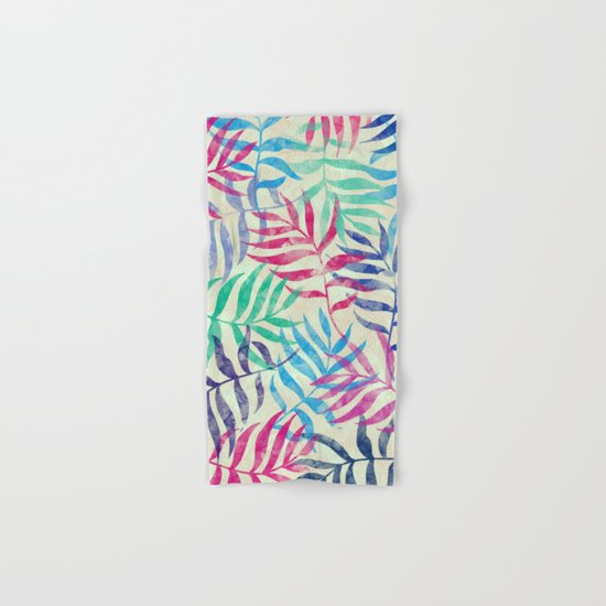 Watercolor Tropical Palm Leaves Hand & Bath Towel