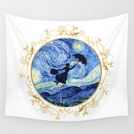 Mary Poppins Starry Night - Golden Floral Frame Wall Tapestry
