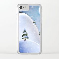 Winter Landscape Under Full Moon Clear iPhone Case