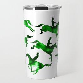 Watercolor Showjumping Horses (Green) Travel Mug