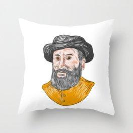 Ferdinand Magellan Bust Drawing Throw Pillow