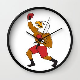 Bald Eagle Boxer Pumping Fist Cartoon Wall Clock