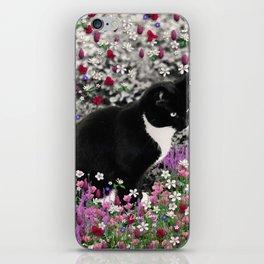 Freckles in Flowers II - Tuxedo Kitty Cat iPhone Skin
