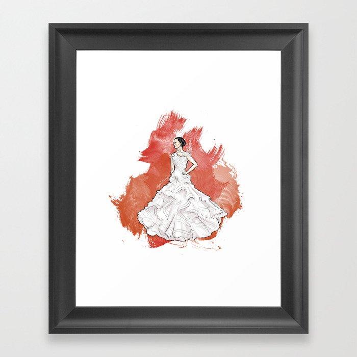 Wedding Dress Framed Art Print by cyrilliart | Society6