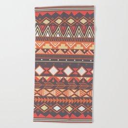 Aztec tribal pattern in stripes, vector illustration Beach Towel