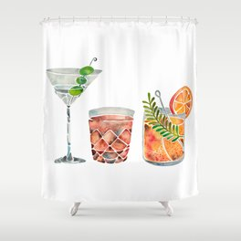 Classic Cocktails  – 1960s Watercolor Lineup Shower Curtain