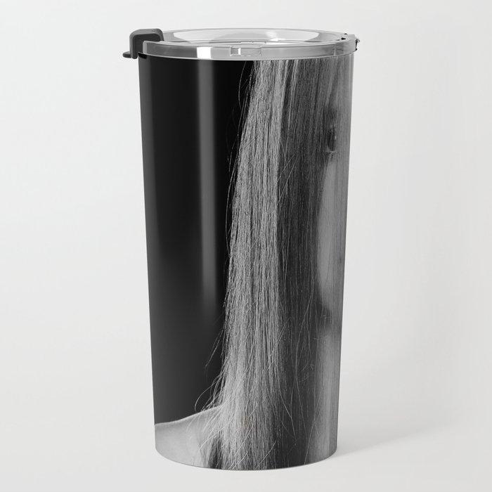 Closeup portrait naked woman Travel Mug