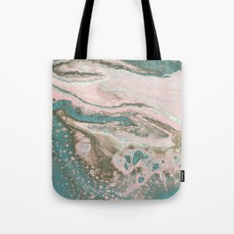 Fluid Art Acrylic Painting, Pour 20, Light Pink, Blue Gray & White Blended Color Tote Bag