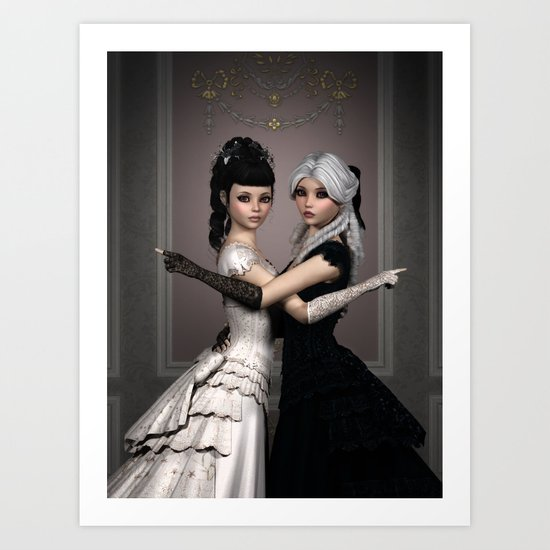 Beautiful Ladies and a difficult choice Art Print