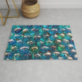 Turquoise Blue Glass Marbles Texture Rug