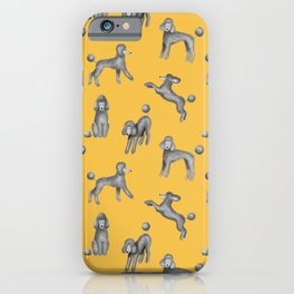 Gray Poodles Pattern (Yellow Background) iPhone Case