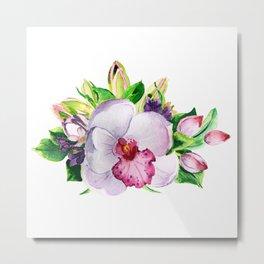 flower bouquet. Orchid watercolor. watercolor flowers Metal Print