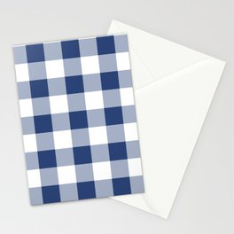 Navy Gingham Pattern Stationery Cards