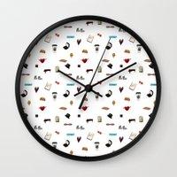 klaine Wall Clocks featuring Pattern of Klaine things by Jen K
